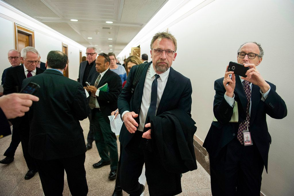 In this Jan. 10, 2017 file photo, Backpage.com CEO Carl Ferrer leaves the Senate Homeland Security and Governmental Affairs subcommittee hearing on Capitol Hill in Washington. Ferrer will serve no more than five years in state prison under a plea agreement announced Thursday, April 12, 2018.
