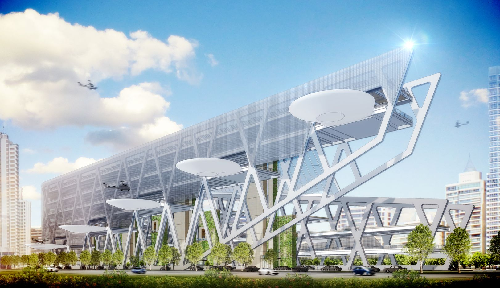 BOKA Powell's design for the Uber Elevate terminal includes wind turbines and photo cells to generate electricity.