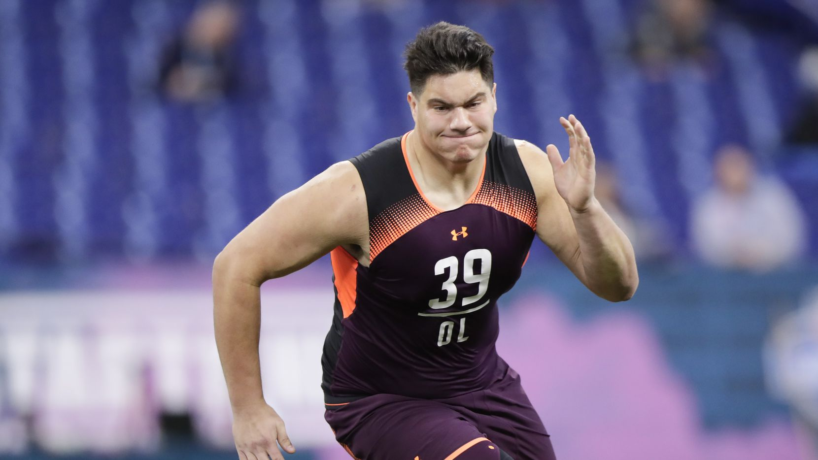 Penn State offensive lineman Connor McGovern runs a drill at the NFL football scouting combine in Indianapolis, Friday, March 1, 2019. (AP Photo/Michael Conroy)
