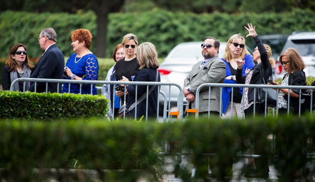 Members of the public arrive to view the casket of former first lady Barbara Bush on Friday, April 20, 2018 at St. Martin's Episcopal Church in Houston. Bush died on Tuesday and her funeral services are on Saturday.