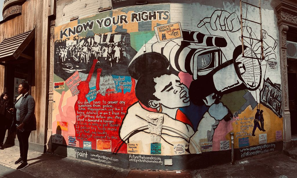 "Harlem is full of murals, including the community-created ""Know Your Rights"" mural at 138th St. and Adam Clayton Powell Boulevard."