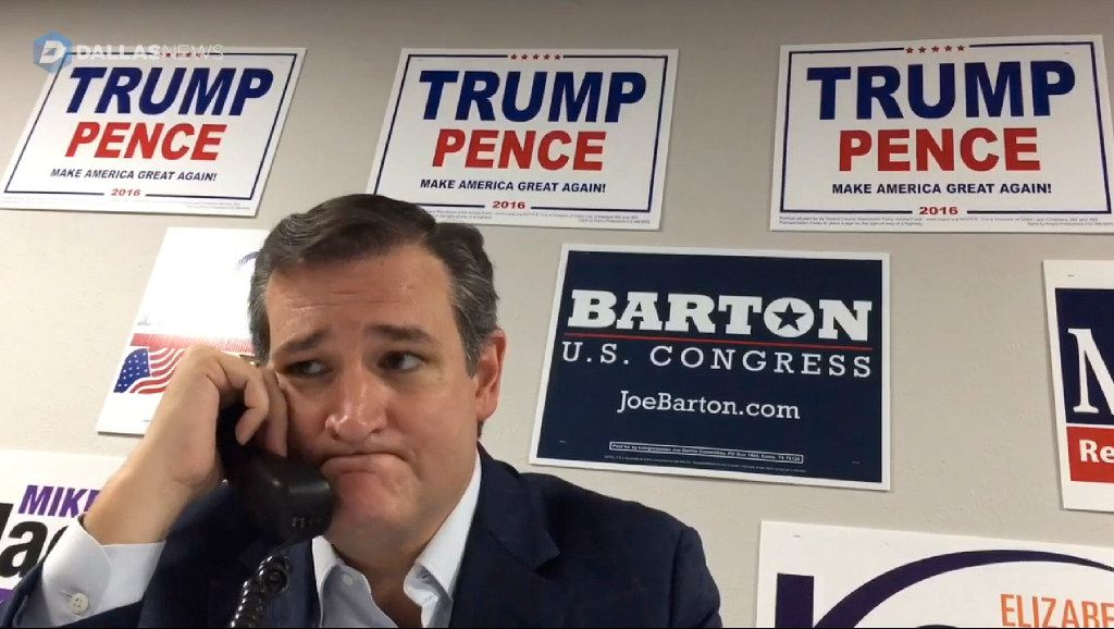 A video screen shot shows Sen. Ted Cruz volunteering at a phone bank on Oct. 5, 2016 in Fort Worth. The screen shot, as well as the video it was taken from, went viral on social media. (G.J. McCarthy/The Dallas Morning News)