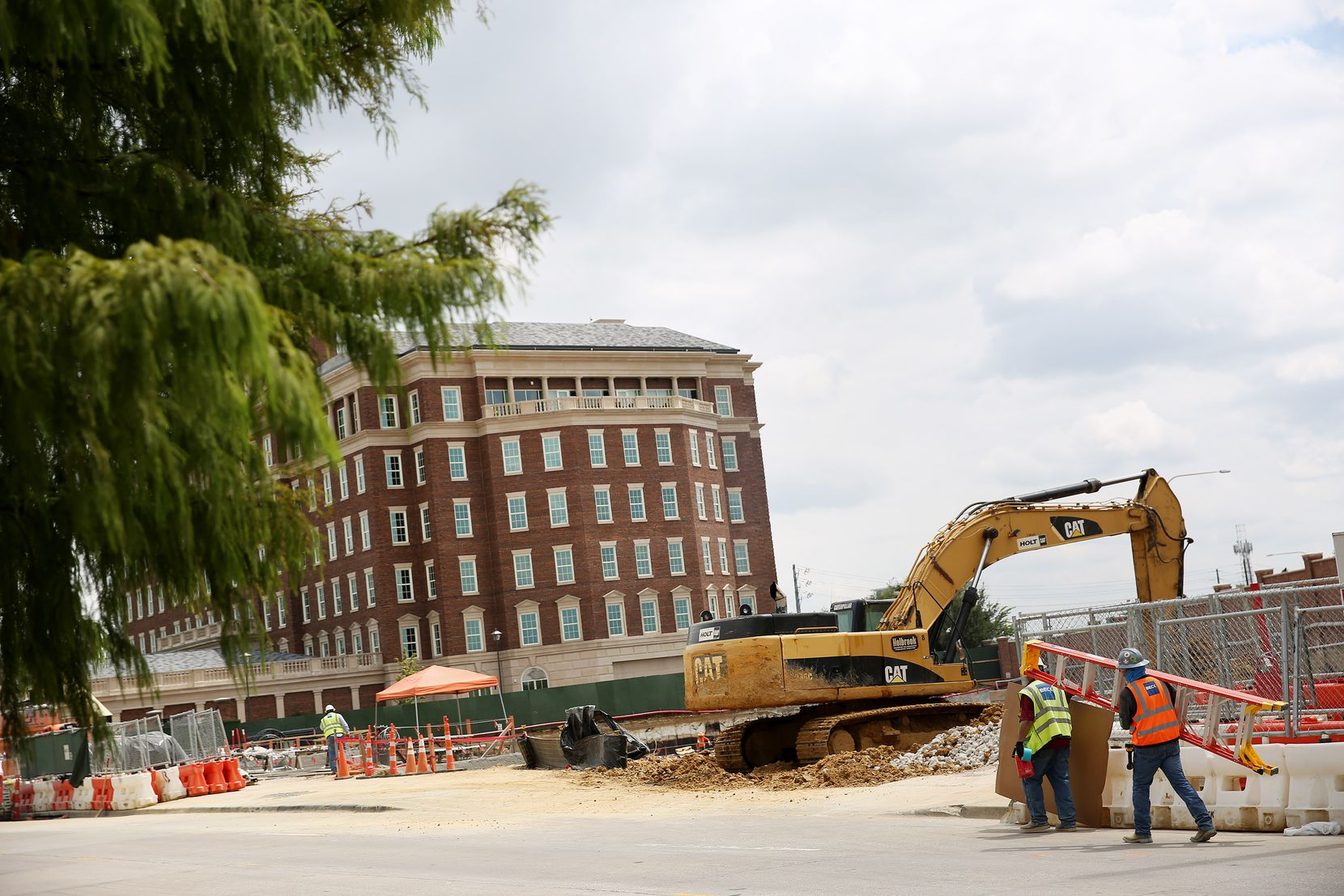 View of the Crow Holdings office building under construction at Maple Avenue and Throckmorton Street in Dallas.