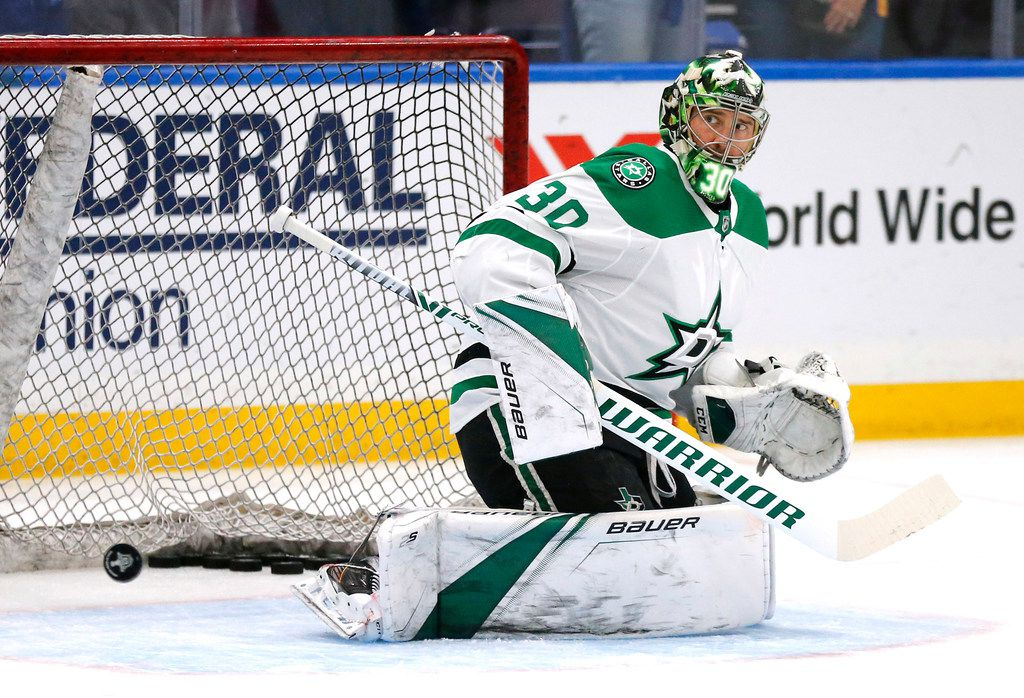 Dallas Stars goaltender Ben Bishop (30) takes shots during warmups before their game against the St. Louis Blues at the Enterprise Center in St. Louis, Tuesday, May 7, 2019. The teams were playing in the Western Conference Second Round Game 7 of the 2019 NHL Stanley Cup Playoffs. (Tom Fox/The Dallas Morning News)