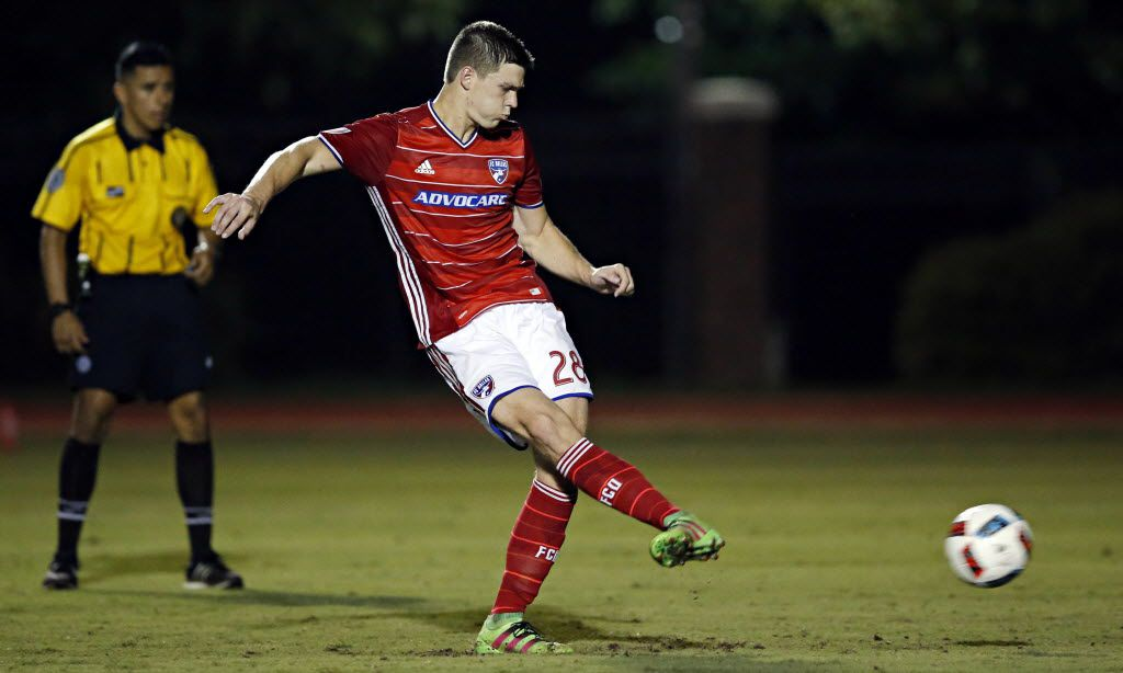 FC Dallas' Colin Bonner kicks the game-winning penalty kick during a 6-5 triumph over Oklahoma City Wednesday, June 15, 2016 at SMU Westcott Field in University Park, Texas. (G.J. McCarthy/The Dallas Morning News)