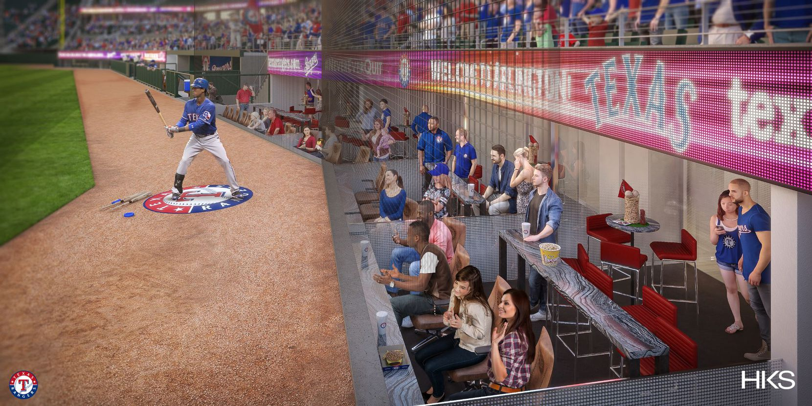 A look at the home-plate box seats at Globe Life Field.