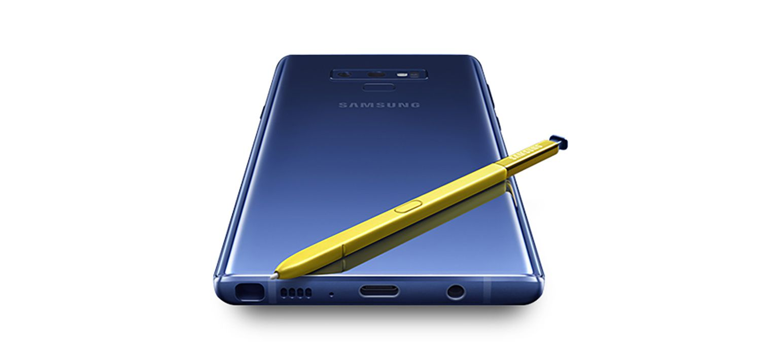 The bottom of the Note 9 holds the S-Pen, USB-C port, headphone jack and a speaker.