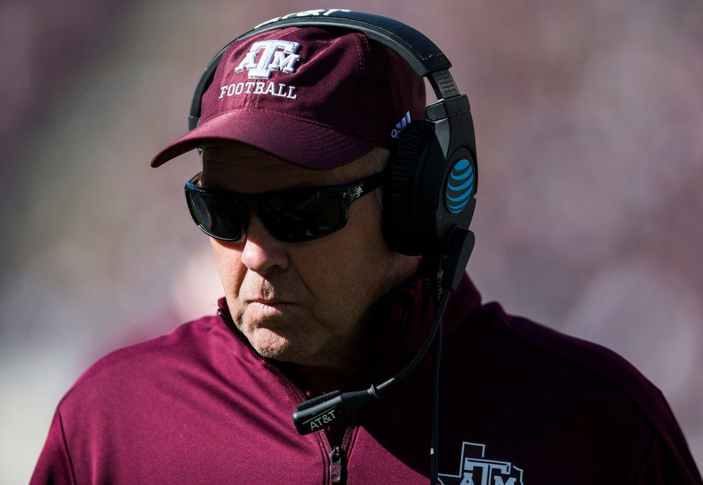 Texas A&M Aggies offensive coordinator Darrell Dickey stands on the sideline during a Texas A&M University Maroon and White scrimmage football game on Saturday, April 14, 2018 at Kyle Field in College Station, Texas. (Ashley Landis/The Dallas Morning News)
