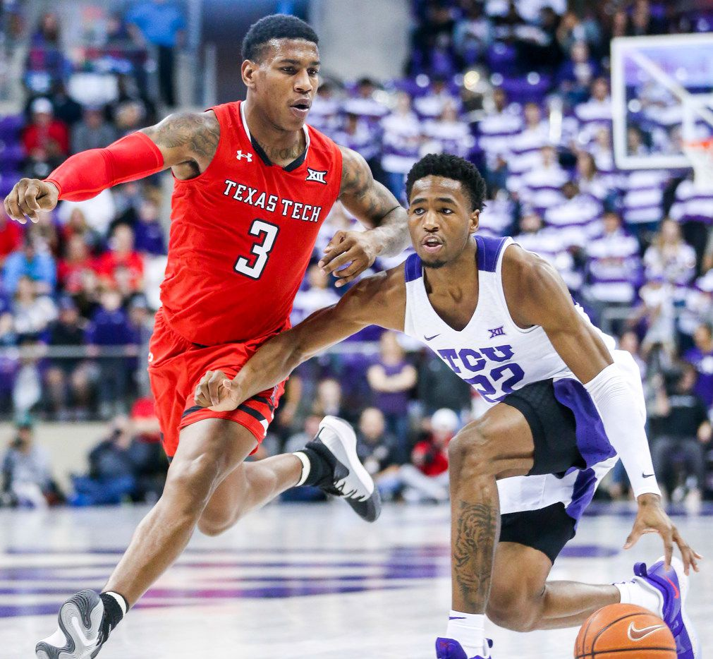 TCU Horned Frogs guard RJ Nembhard (22) drives the ball past Texas Tech Red Raiders forward Deshawn Corprew (3) during an NCAA basketball game at Schollmaier Arena Fort Worth, Texas on Saturday, March 2, 2019. (Shaban Athuman/The Dallas Morning News)