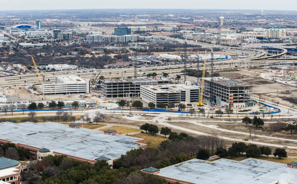 Construction near the intersection of the Dallas North Tollway and Sam Rayburn Tollway in Frisco, as viewed from a helicopter on Jan. 4, 2017.