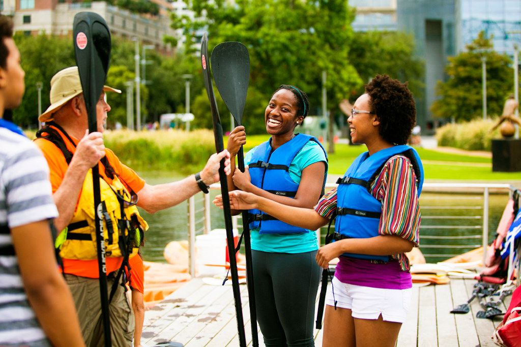 You can paddle and canoe at Discovery Green in Houston.