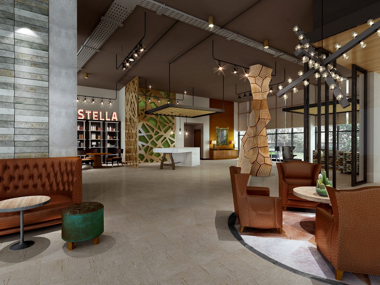 A rendering of the lobby at The Stella in College Station.
