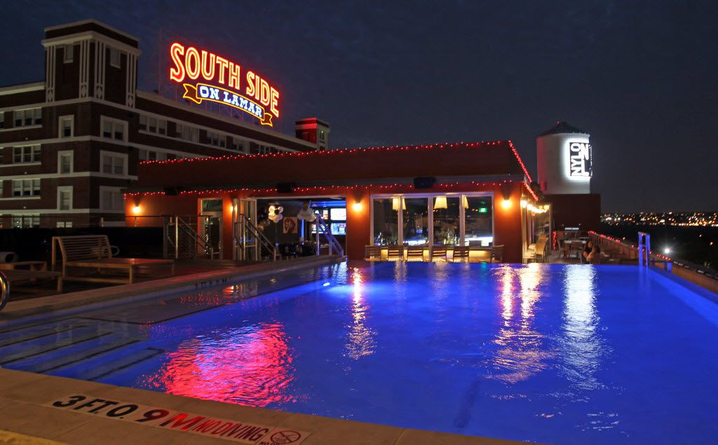 The view of the South Side on Lamar building from the bar and pool area at the Nylo Hotel on South Lamar Street in Dallas in 2012.