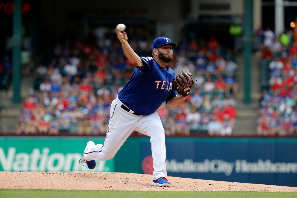 Texas Rangers starting pitcher Lance Lynn works against the Kansas City Royals int the first inning of a baseball game in Arlington, Texas, Saturday, June 1, 2019. (AP Photo/Tony Gutierrez)