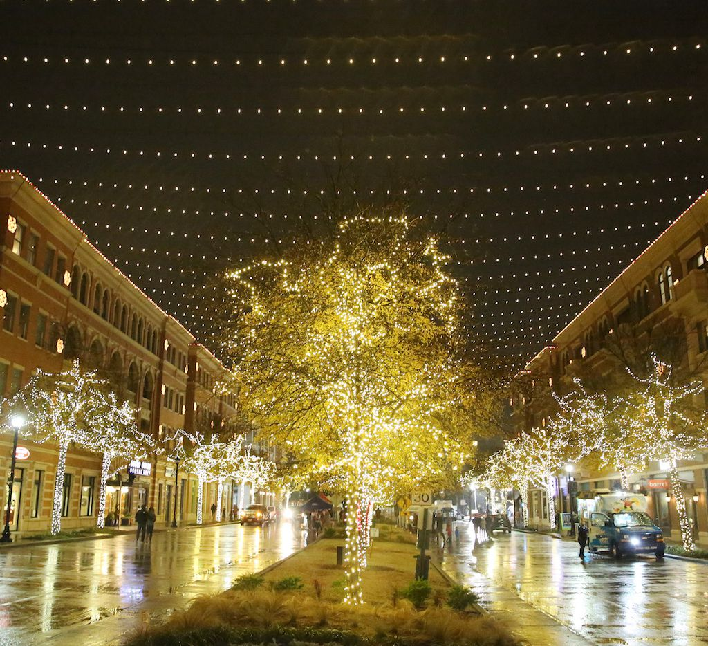 Lights illuminate downtown Frisco during Christmas in the Square.