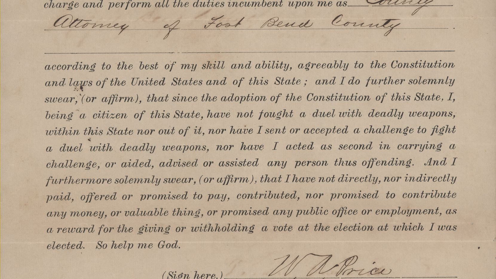 William Price's oath of office for district attorney of Fort Bend County, 1876.
