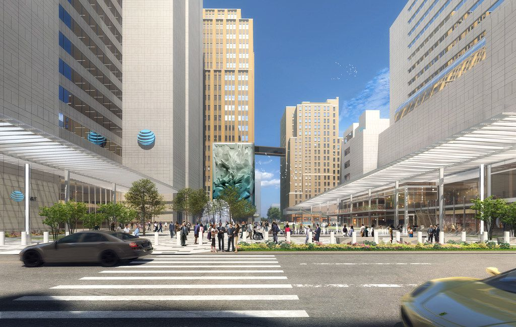 AT&T is building a huge new public plaza with a giant video screen and huge sculpture as part of its more than $100 million downtown Dallas headquarters redo.