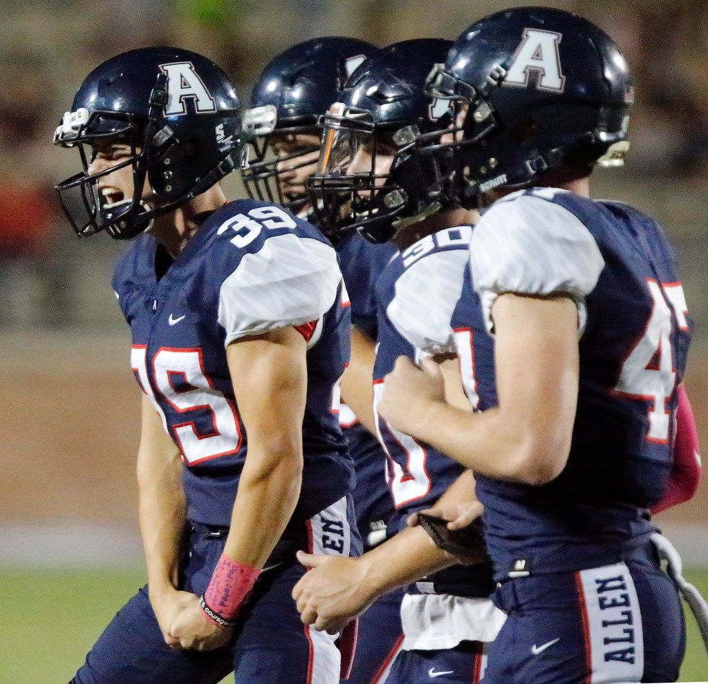Allen High School kicker Brady Ellsworth (39) screams as he runs off of the field after kicking a 43 yard field goal during the first half as Allen High School hosted Plano Senior High School at Eagle Stadium in Allen on Friday night, October 13, 2017. (Stewart F. House/Special Contributor)