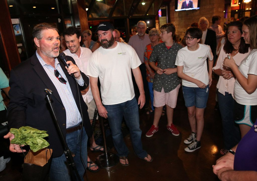 Dallas district 14 city council  candidate Matt Wood gives a concession speech to his supporters following a loss against incumbent Philip T. Kingston at Buzzbrews in Dallas on Saturday, May 6, 2017.