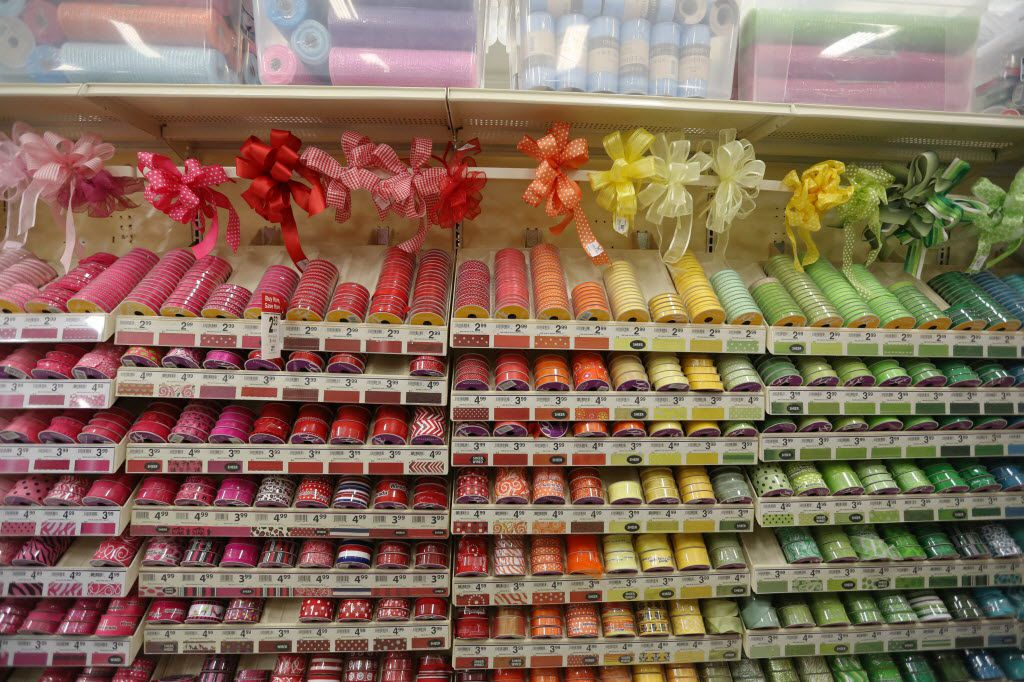 An array of ribbons colors on display inside the Michaels store at the Park Place Shopping Center in Plano, Texas Friday June 27, 2014. The Irving-based arts and crafts retailer released its IPO on Friday at the beginning of trading. (Andy Jacobsohn/The Dallas Morning News)