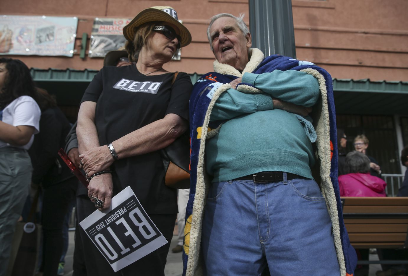 """Karen Layne of Las Cruces talked to her dad, Frank Mangold, 91, of Las Cruces prior to the start of a Beto O'Rourke presidential campaign kickoff rally in downtown El Paso on Saturday, March 30, 2019. """"For me, it's because he's honest,"""" Layne said of Beto O'Rourke. """"He's young. He's Kennedy like."""""""