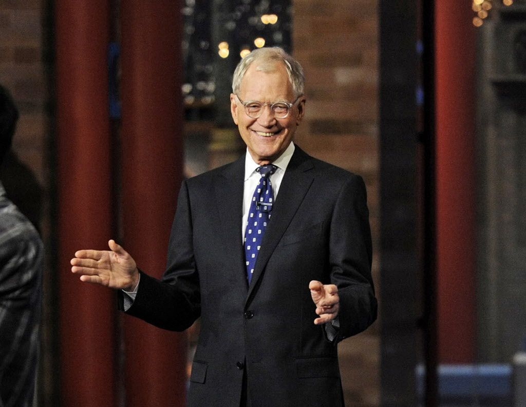 """David Letterman during a taping of his final """"Late Show"""" episode."""