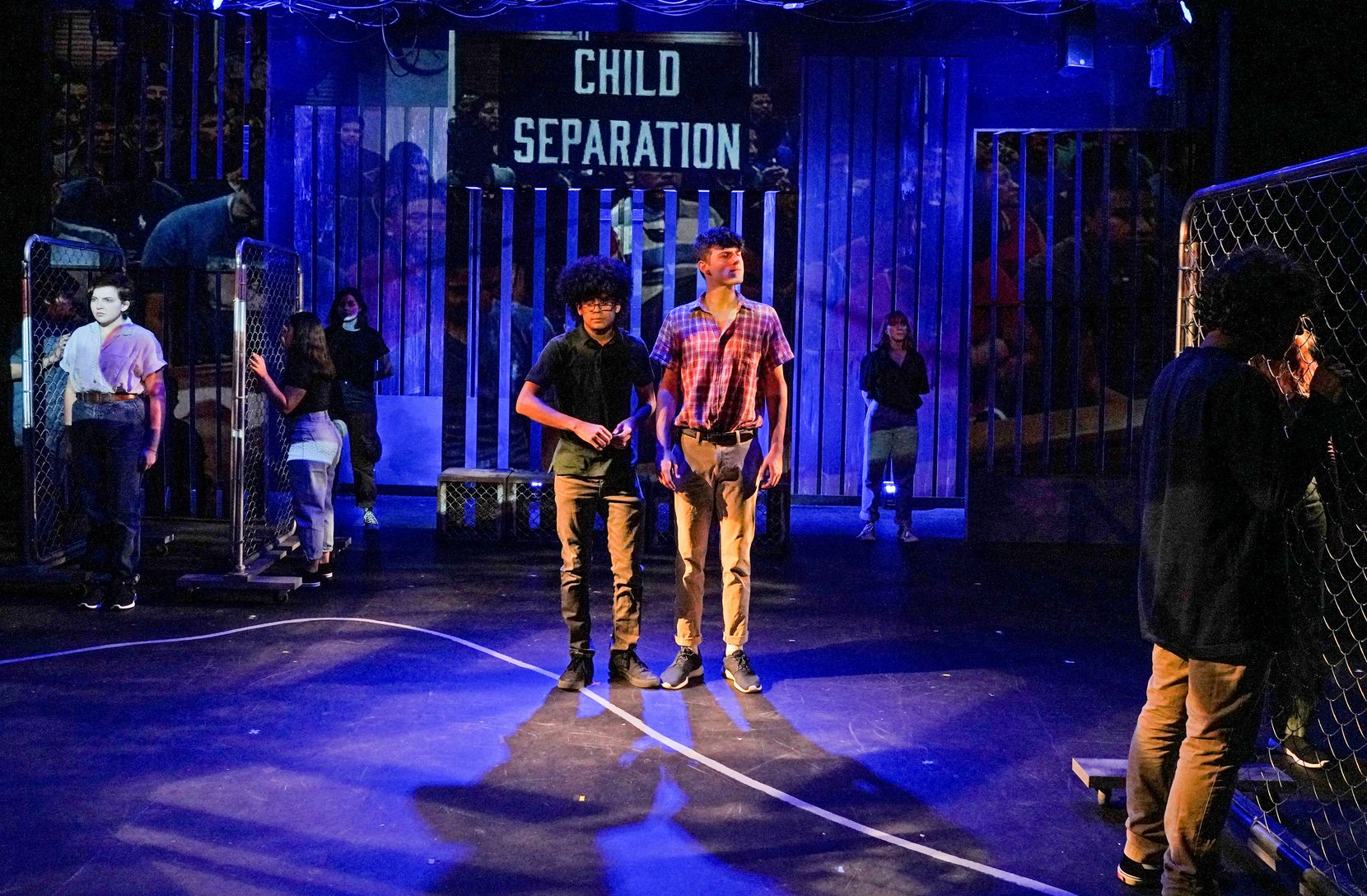 Child separation is one of the issues that the teen actors of Cry Havoc Theater Company explore in Crossing the Line, which runs through Aug. 4 at the Trinity River Arts Center in a co-production with Kitchen Dog Theater.