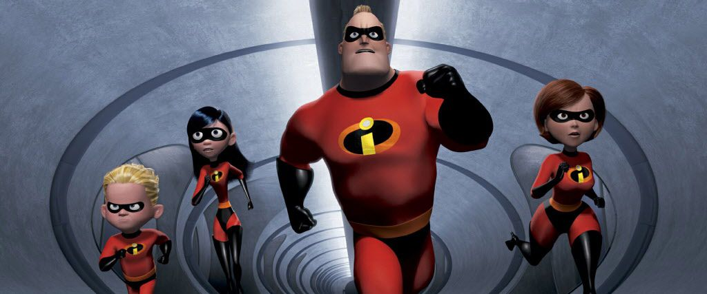 """In this undated animated still frame released by Pixar, The Incredibles family:  speedy 10-year old Dash, left, shy teenager Violet, second from left, the strong and heroic Mr. Incredible, center, and ultra-flexible Elastigirl appear in this scene from """"The Incredibles."""""""