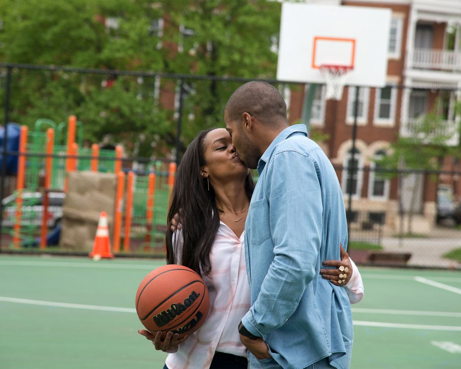 Rachel Lindsay locks lips with Eric Bigger after a casual basketball game in his hometown of Baltimore.