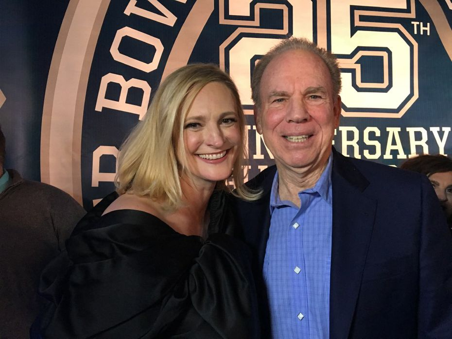 "Jennifer Sampspn and Roger Staubach ran into each other on the ""Blue Carpet"" at the Dallas Cowboys' 25th Super Bowl Anniversary in February."