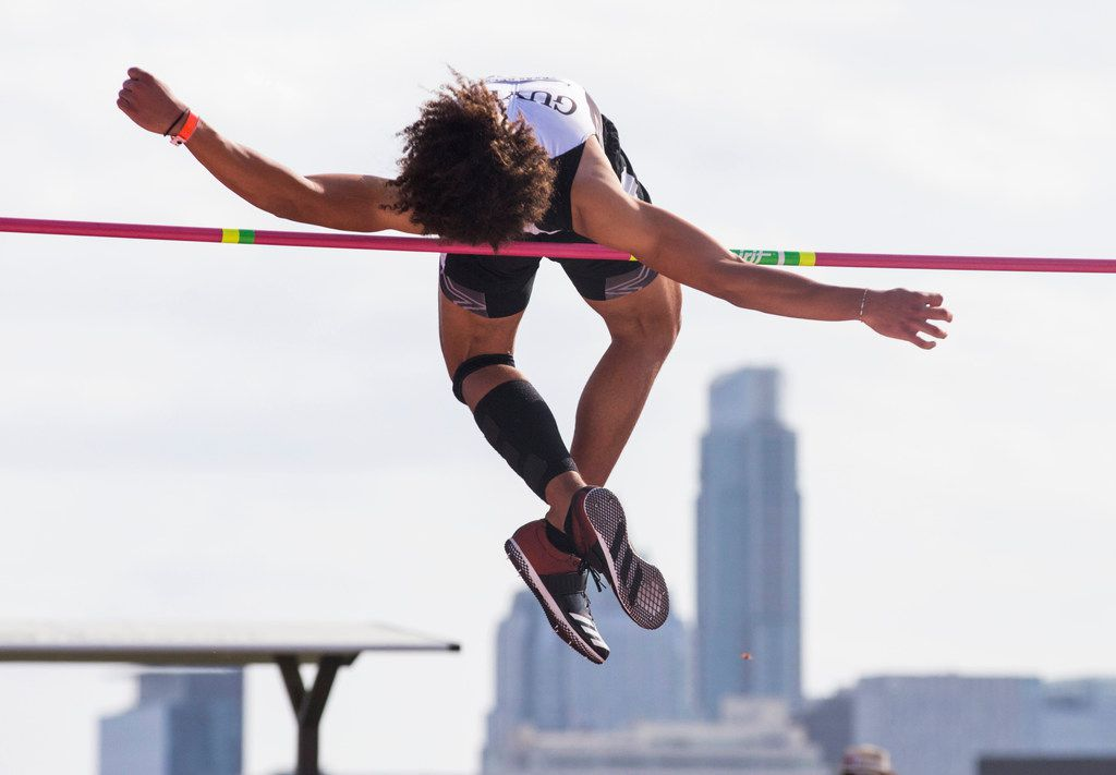 Denton Guyer's Eli Stowers competes in Boys' High Jump during the Texas Relays track and field meet on Friday, March 29, 2019 at Mike A. Meyers Stadium at the University of Texas in Austin. Stowers won first place.(Ashley Landis/The Dallas Morning News)