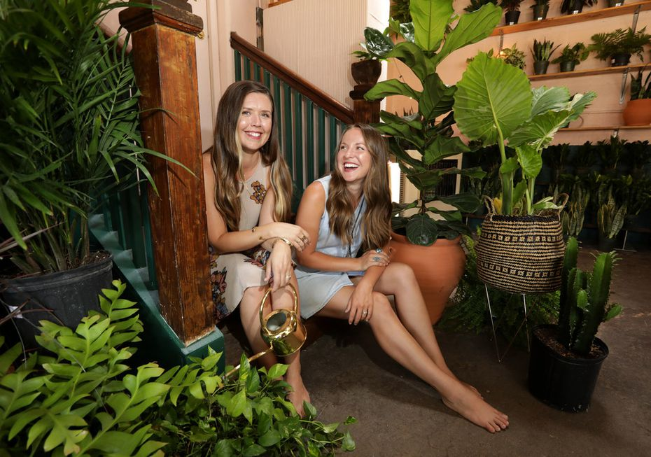 Hannah Street, left, and Bethany Mieth pose for a photograph at their at Oasis Plant Shop in Dallas on May 12, 2018. (Jason Janik/Special Contributor)