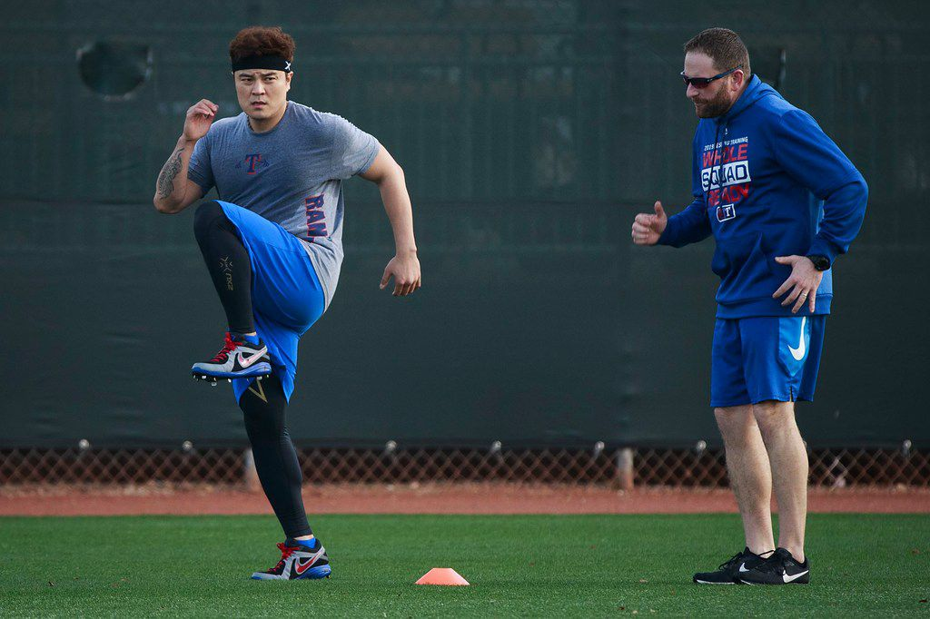 Texas Rangers outfielder Shin-Soo Choo does conditioning work in the outfield during a spring training workout at the team's training facility on Friday, Feb. 15, 2019, in Surprise, Ariz.. (Smiley N. Pool/The Dallas Morning News)