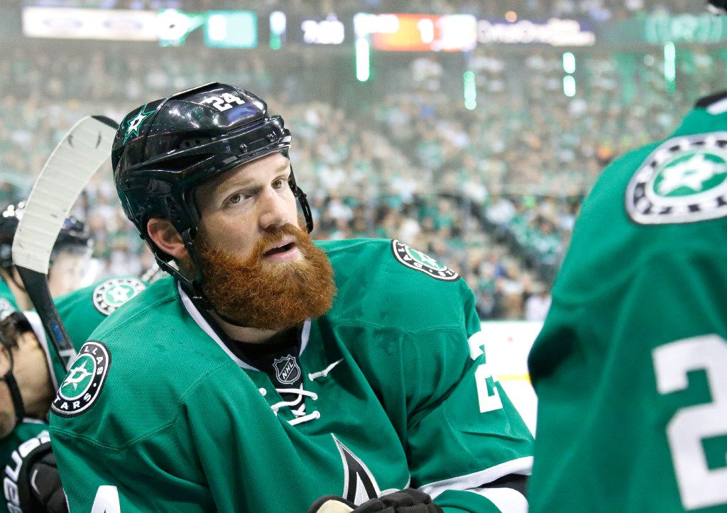 Dallas Stars defenseman Jordie Benn (24) is pictured on the bench during the Anaheim Ducks vs. the Dallas Stars NHL hockey game at the American Airlines Center on Thursday, October 13, 2016. (Louis DeLuca/The Dallas Morning News)