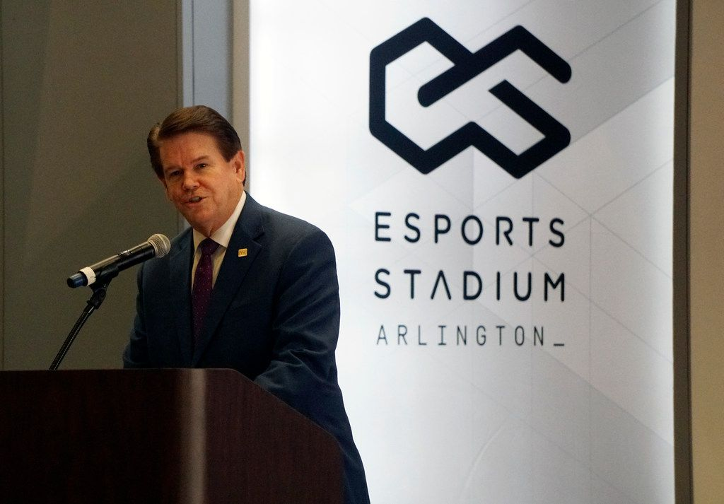 Mayor Jeff Williams speaks to the media at the grand opening of the new Esports Stadium at the convention center in Arlington, Texas on Monday, November 19, 2018.  (Lawrence Jenkins/Special Contributor)