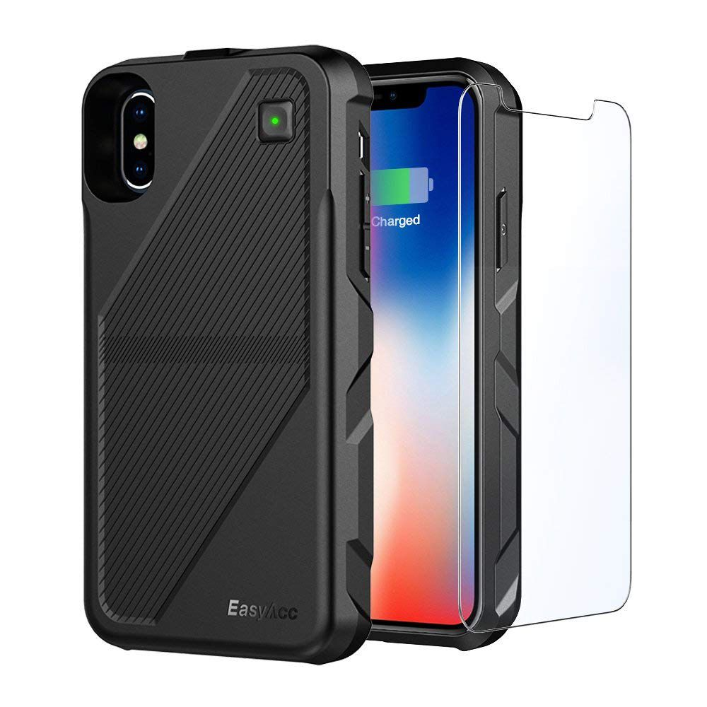 The EasyAcc Battery Case with wireless charging for iPhone X.