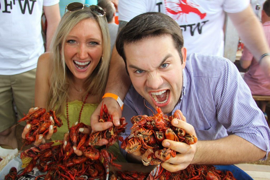 Jessi Moreau and Steven Strobl getting their crawfish on at Boil for the Brave crawfish boil benefitting Veterans Rehabilitation program was held at The Rustic in Uptown on April 18, 2015