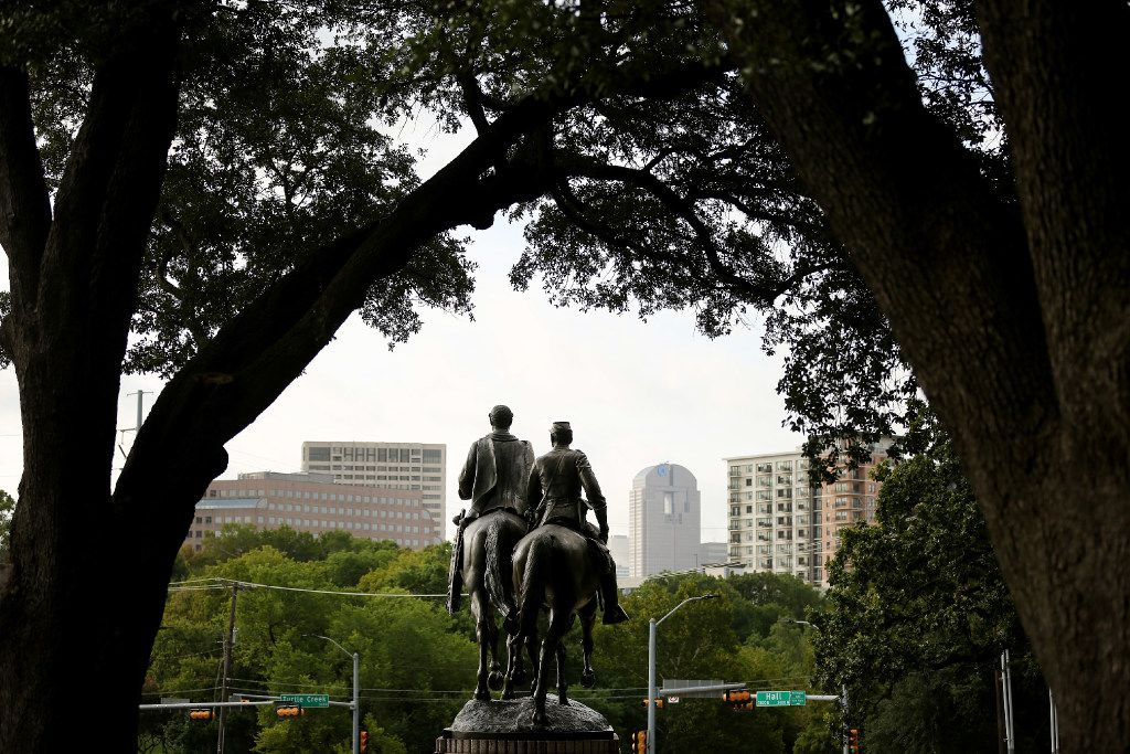 A  statue of Confederate general Robert E. Lee  stands in Lee Park in the Oak Lawn neighborhood of Dallas. Dallas Mayor Mike Rawlings called for a task force to study the issue of whether or not to remove the city's Confederate monuments in Lee Park and Pioneer Plaza. The task force has 90 days to report their findings. The statue was unveiled by President Franklin D. Roosevelt on June 12, 1936.