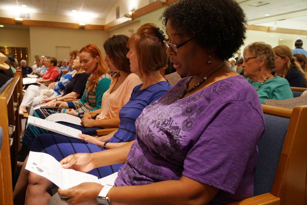 Sheridan Braggs participates in the Interfaith Peace Service at Congregation Beth Torah in Richardson, Texas on Sunday, July 10, 2016.  The service was attended by people of all faiths. (Lawrence Jenkins/Special Contributor)