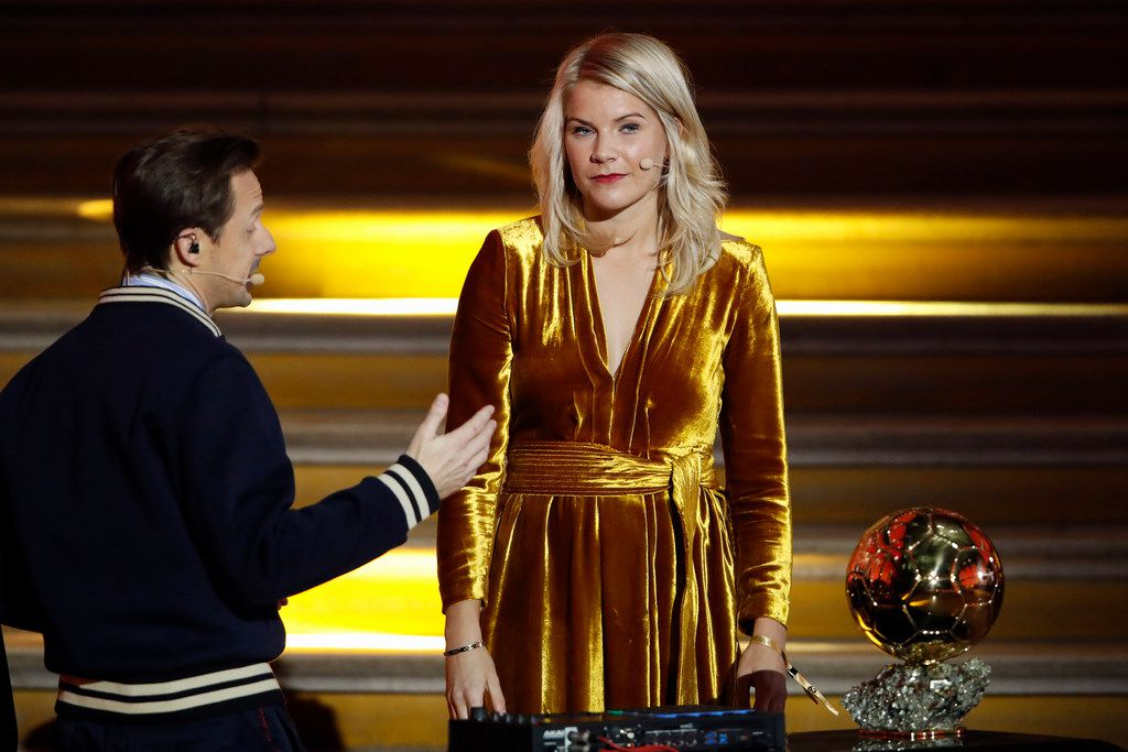 French DJ and musician Martin Solveig talked to Olympique Lyonnais' Ada Hegerberg of Norway during the Golden Ball (Ballon d'Or) award ceremony at the Grand Palais in Paris on Dec. 3.