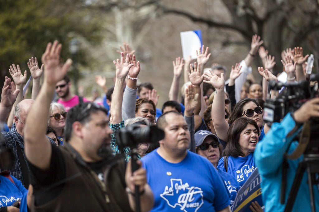 Teachers, school employees and community leaders gathered last year on the South Steps of the Capitol in Austin to address issues such as community schools, education funding, affordable health care and ending the misuse of testing.