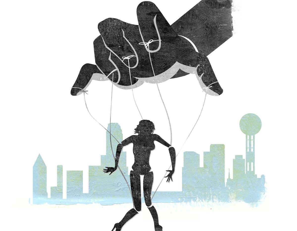 El tráfico de mujeres con propósitos de involucrarlas en la prostitución es prominente en Dallas. ILUSTRACION: Michael Hogue.