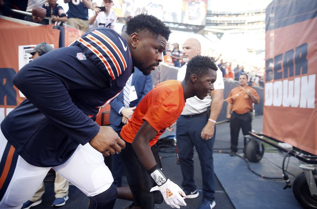 CHICAGO, ILLINOIS - AUGUST 08: Khalil Mack #52 of the Chicago Bears makes his way onto the field during introductions prior to a preseason game against the Carolina Panthers at Soldier Field on August 08, 2019 in Chicago, Illinois.