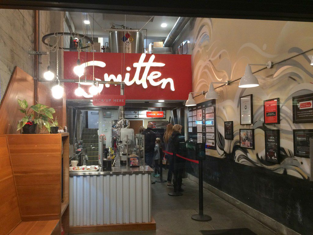 Customers wait to order inside the Smitten Ice Cream location in the Marina District.