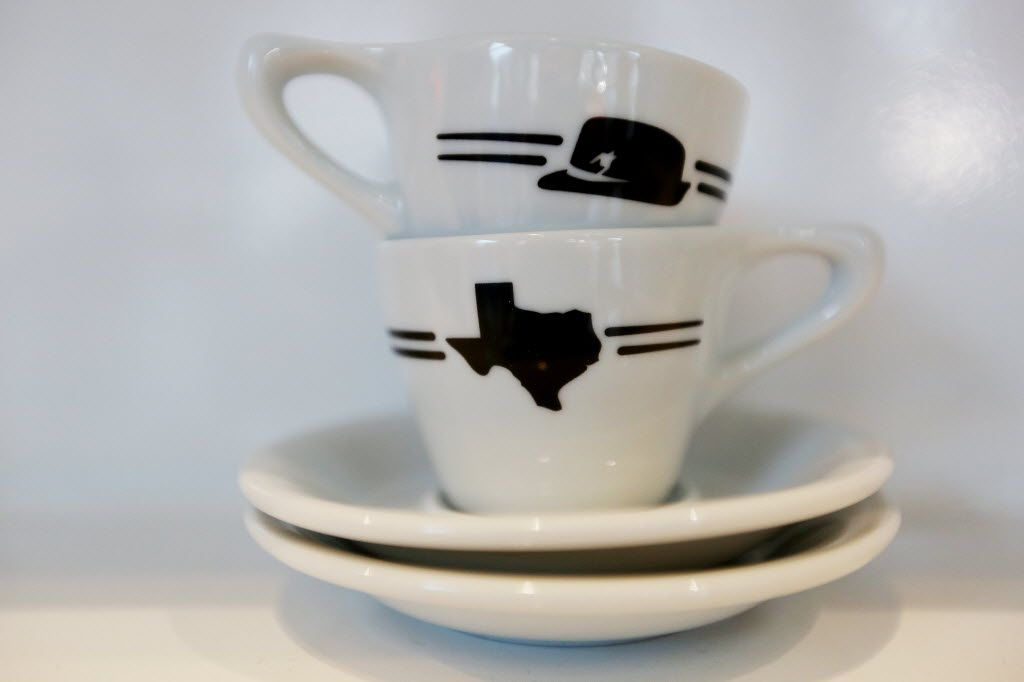 Coffee cups sit inside of Houndstooth Coffee along Sylvan Avenue in Dallas June 13, 2016. Houndstooth Coffee has locations in Dallas and Austin. This location is expected to open Wednesday June 15, 2016. (Andy Jacobsohn/The Dallas Morning News)