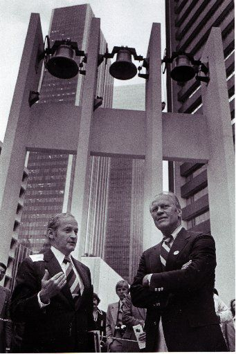 Peter Stewart (left) and former U. S. President Gerald R. Ford at Thanks-Giving Square.