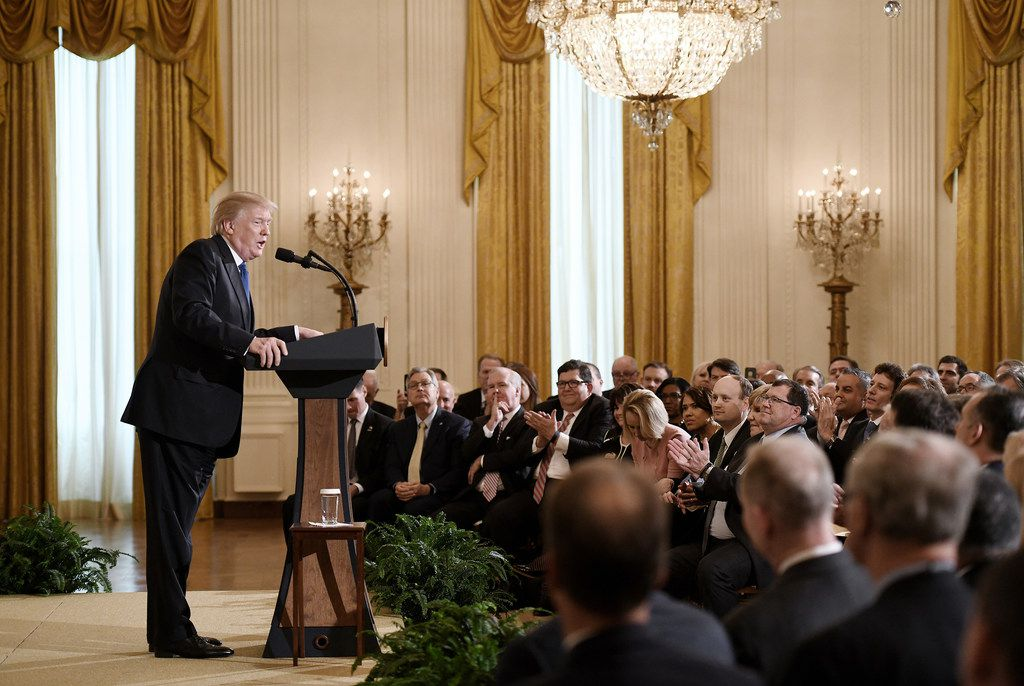 President Donald Trump addresses mayors during a working session in the East Room of the White House Jan. 24, 2018.