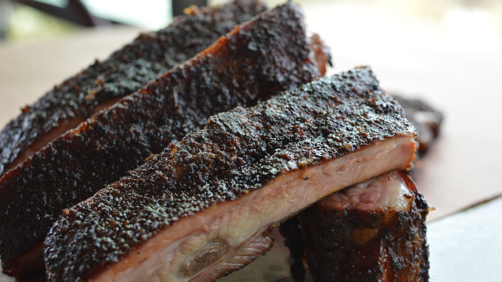 Bumbershoot Barbecue in Argyle comes from the restaurant group that owns nearby spot Earl's 377 Pizza as well as Barley & Board in Denton. Here: Executive chef Chad Kelley's ribs.