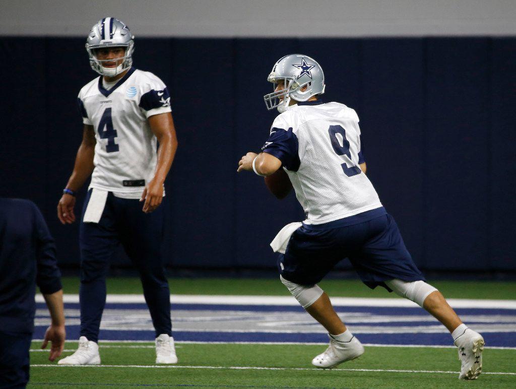 Cowboys quarterback Dak Prescott (4) watches quarterback Tony Romo (9) during practice at Ford Center at The Star in Frisco, Texas, Thursday, Nov. 3, 2016. (Jae S. Lee/The Dallas Morning News)