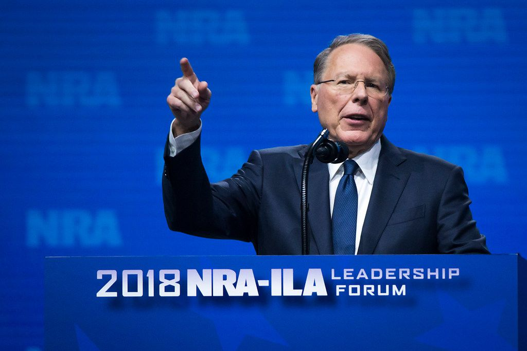 NRA chief executive Wayne Lapierre addressed the NRA-ILA Leadership Forum at the Kay Bailey Hutchison Convention Center on May 4, 2018, in Dallas.
